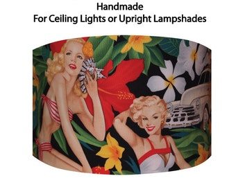 Drum Lampshade with Alexander Henry's Aloha Girls on a Black Background