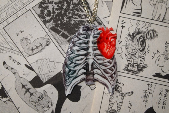 human body diagram tattoo anatomical human rib cage   heart necklace anatomy tattoo etsy  rib cage   heart necklace anatomy