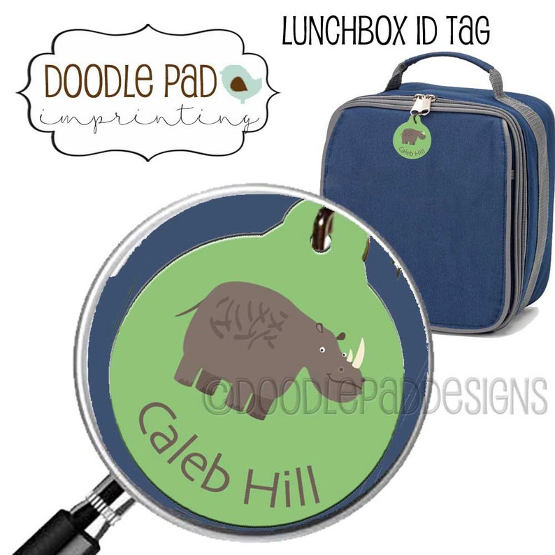 Personalized Rhino Tag, Lunch box ID Tag, Zipper Pull, Backpack tag