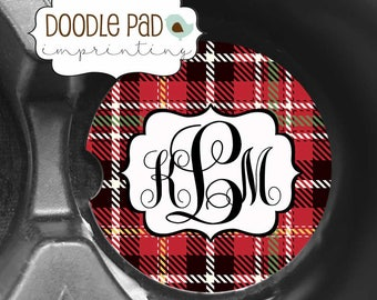 Coasters for Car, Red Tartan Plaid Car Coaster, Personalized cupholder coaster