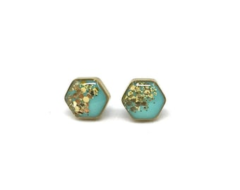 Mint Hexagon Studs Gold Glitter Earrings Brass Hexagons Small Resin Stud Earrings Geometric Jewelry Sparkly Aqua Studs Hexagon Post Earrings