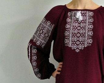 Vyshyvanka boho blouse. Marsala embroidered peasant blouse. Bohemian clothing.