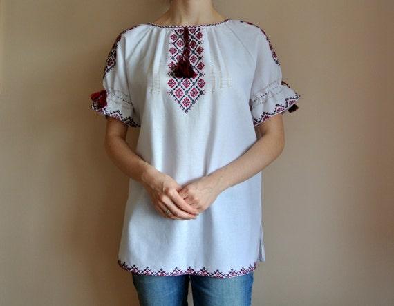 Ukrainian handwoven vyshyvanka blouse Bohemian embroidered blouse Handmade peasant blouse.