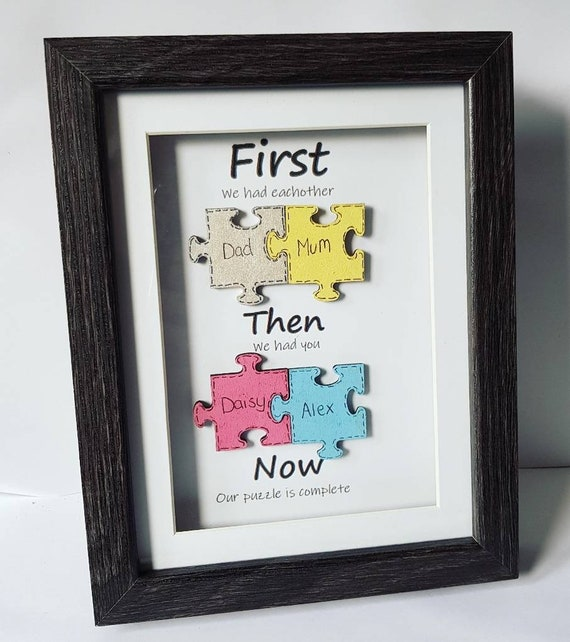 Wooden Jigsaw Picture Our Family Frame Puzzle Pieces Gift Etsy