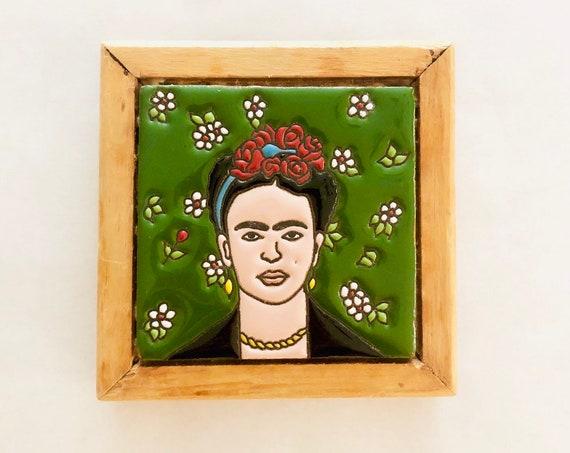 Vtg Frida Ceramic Tile Framed