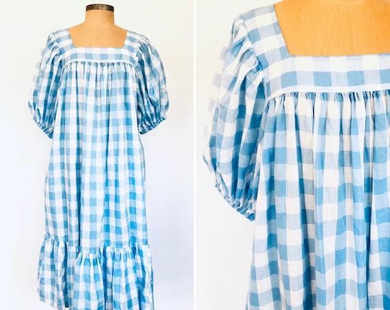 80s Gingham Puffed Sleeve House Dress