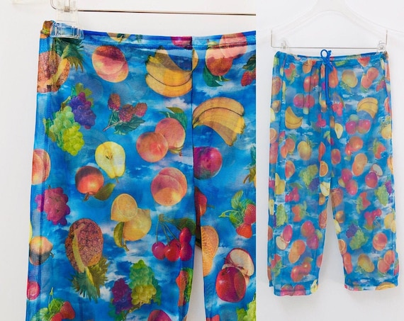 90s Fruity Mesh Capris •Mary Kate & Ashley• Y2K •small
