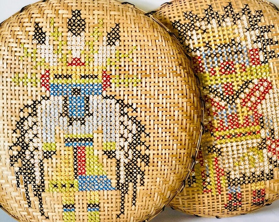 70s Large Winnowing Basket Woven Kachina 24 in