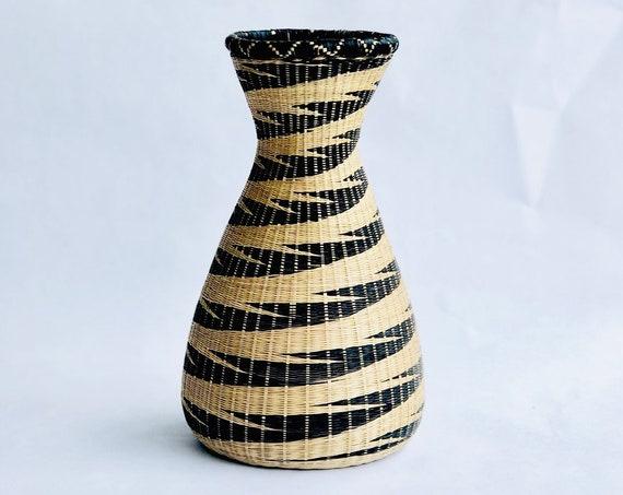 70s Rattan Vase 11.5 INCH