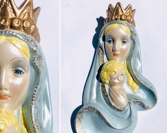 73' Mary & Baby Jesus Ceramic Wall Hanging