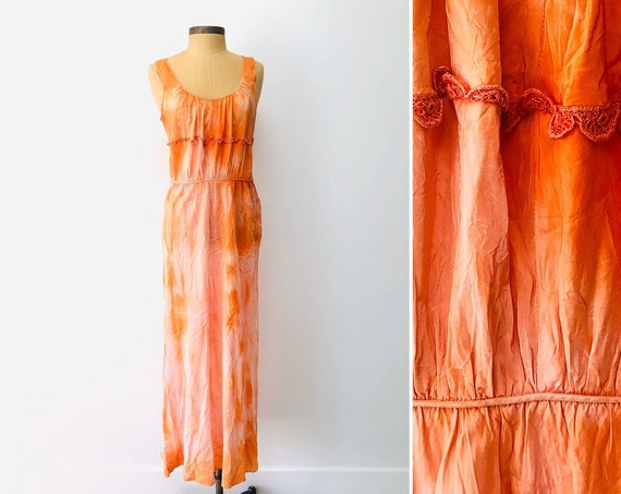 70s Tie Dye Silk Dress•medium•