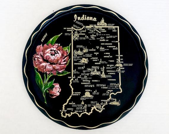 60s Decorative Tin Plate• Indiana •