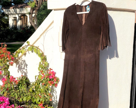 70s Suede Fringe Maxi •medium•
