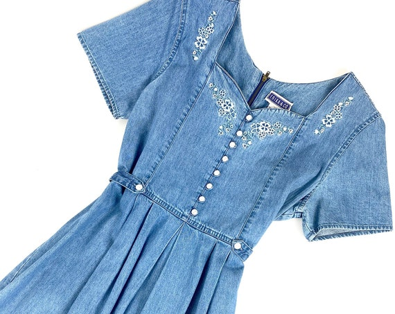 80s Denim Day Dress •medium•