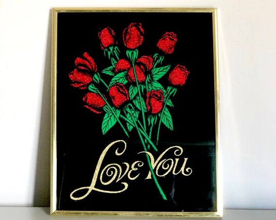 70s Glitter Rose Wall Art