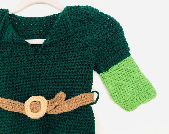 Vtg Baby Knit Peter Pan Costume•24 Mo•