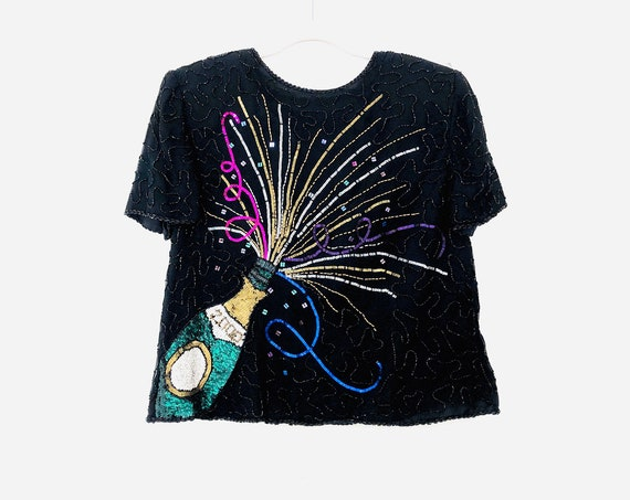 00' New Years Beaded Blouse •large•