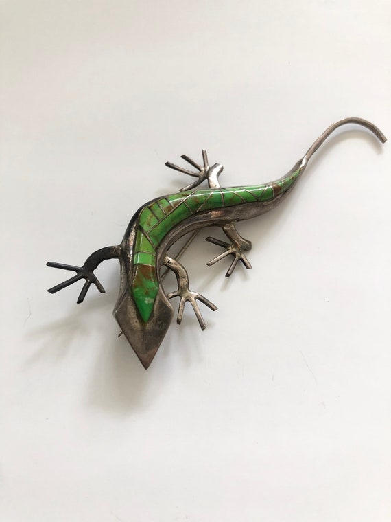 60s Sterling Silver Lizard Brooch