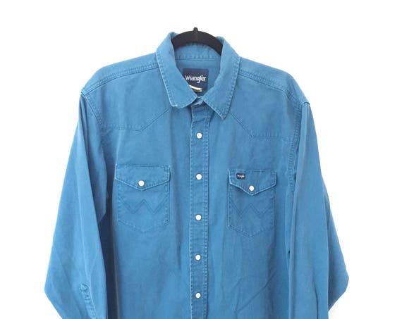 90s Wrangler Button Up ~ Frayed Bottom Hem ~ Vintage