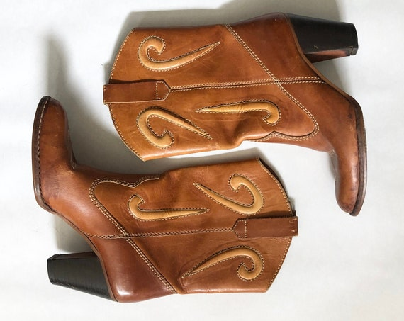 80s Cowboy Boots•7• Brown Leather