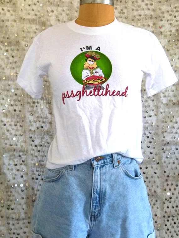 "Vintage Graphic ""I'm A Pssghettihead"" Tee- Unisex; Parody T shirt; Boyfriend Shirt S/M"