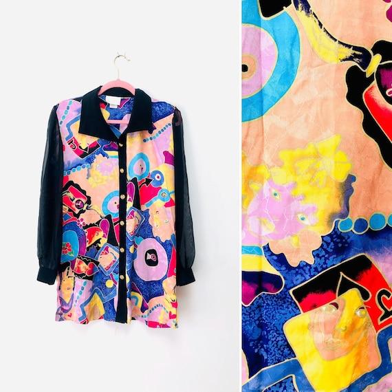 80s Picasso Faces Blouse •medium•