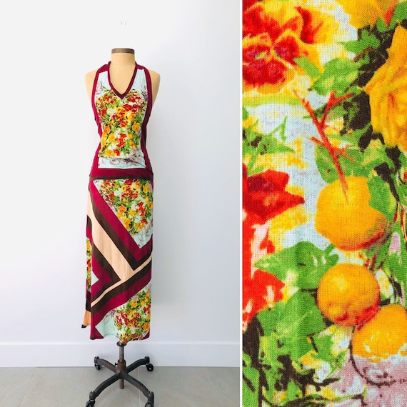 90s Jean Paul Gaultier MAILLE FEMME•Halter & Skirt• medium• cotton •