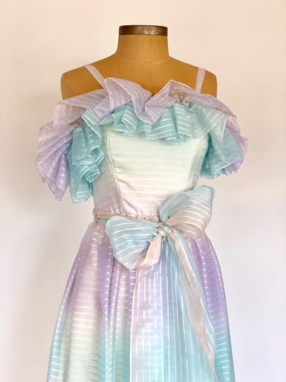 80s Tea Length Cotton Candy Prom Midi Dress