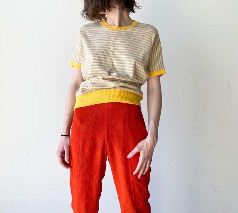 80s yellow striped tee\u2022 medium\u2022