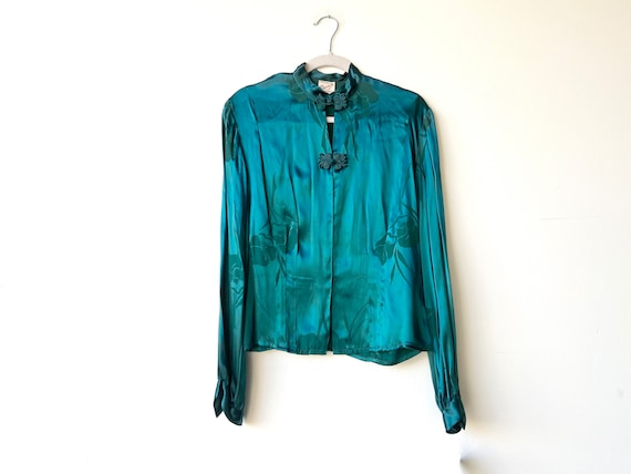 70s silk blouse • small•