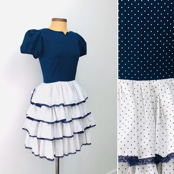 80s Swiss Dot Square Dance Dress •small•