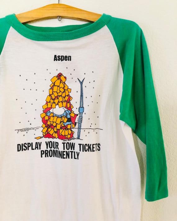 80s Aspen Ticket Baseball Shirt