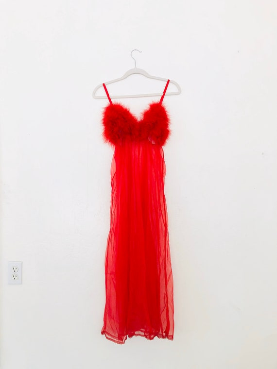60s Slip Into Something Red Hot • small• Feathered Nightgown
