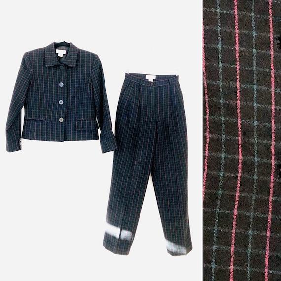 90s Wool Plaid Pant Suit • SIze 4 Petite•