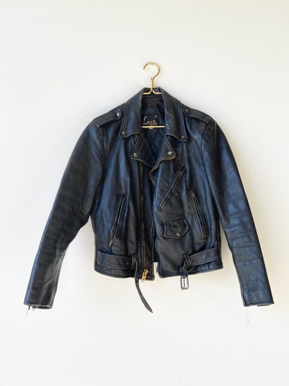 70s Leather Motorcycle Jacket• lesco leathers• med