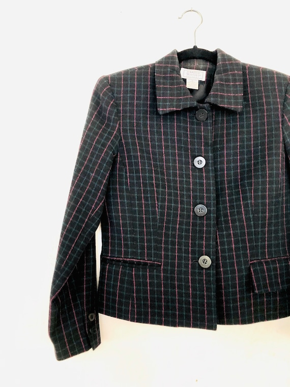90s Wool Plaid Pant Suit • SIze 4 Petite• - image 2