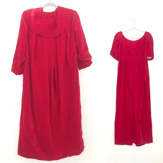 60s Velvet Dress & Coat Set •Small• pink