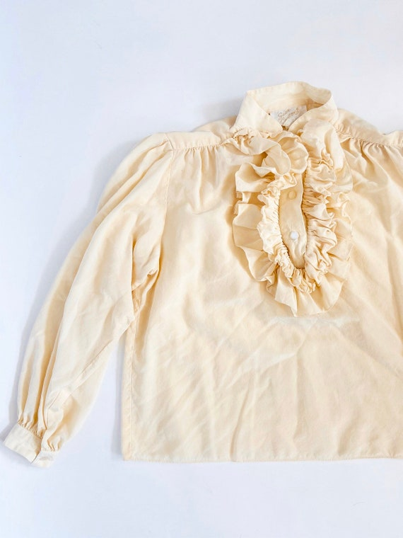 60s Silk Ruffled Collar Blouse •medium•