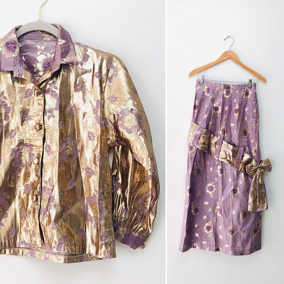60s Lavender Metallic Suit (Skirt/Jacket) •27'•