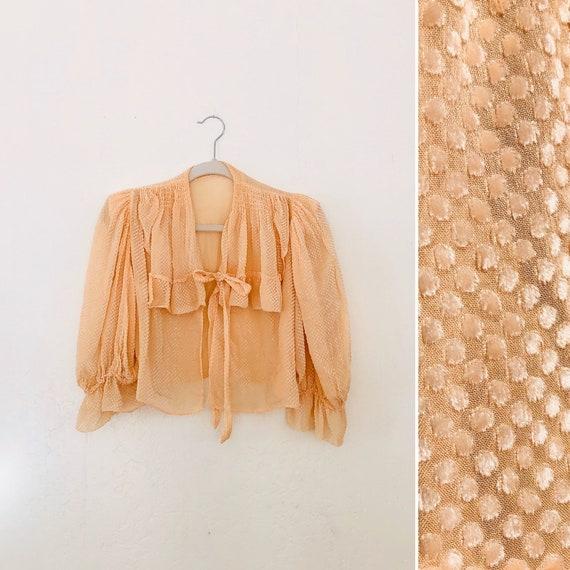 60s Velvet Swiss Dot Blouse • small•