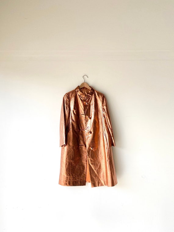 60s metallic rain coat•medium•