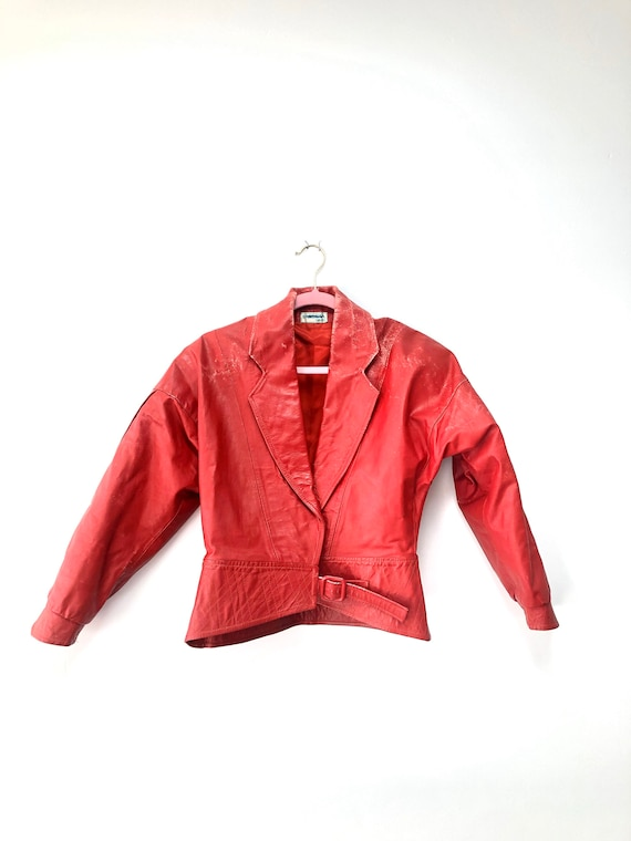 80s Red Distressed Leather Jacket • cropped• medium