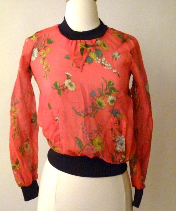 60s Blushing Blooms Blouse