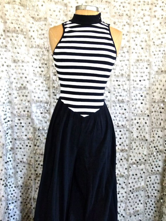 15% OFF 80s Nautical Or Nice Jumper; Sailor Jumpsuit; Long Romper; Navy and White Stripes; Striped Jumpsuit; Cotton; S/M/L