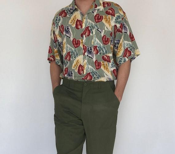 Pierre Cardin Leaf Print Shirt ~ XL