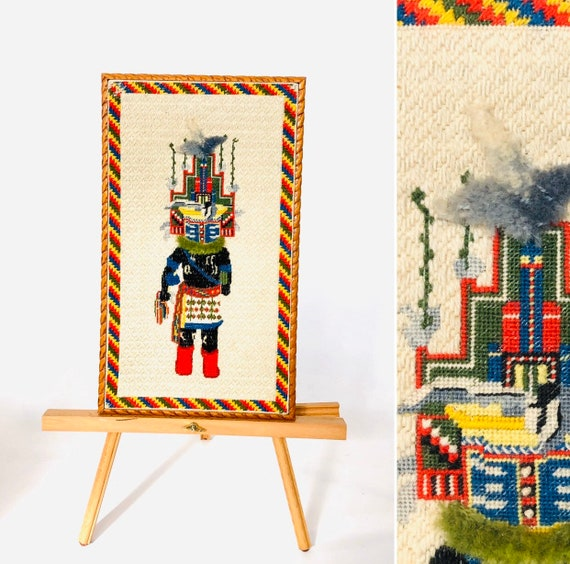50s Kachina Needlepoint• twisted wood frame•