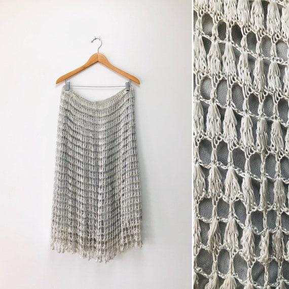 70s Crochet Mermaid Skirt•size 12• silver