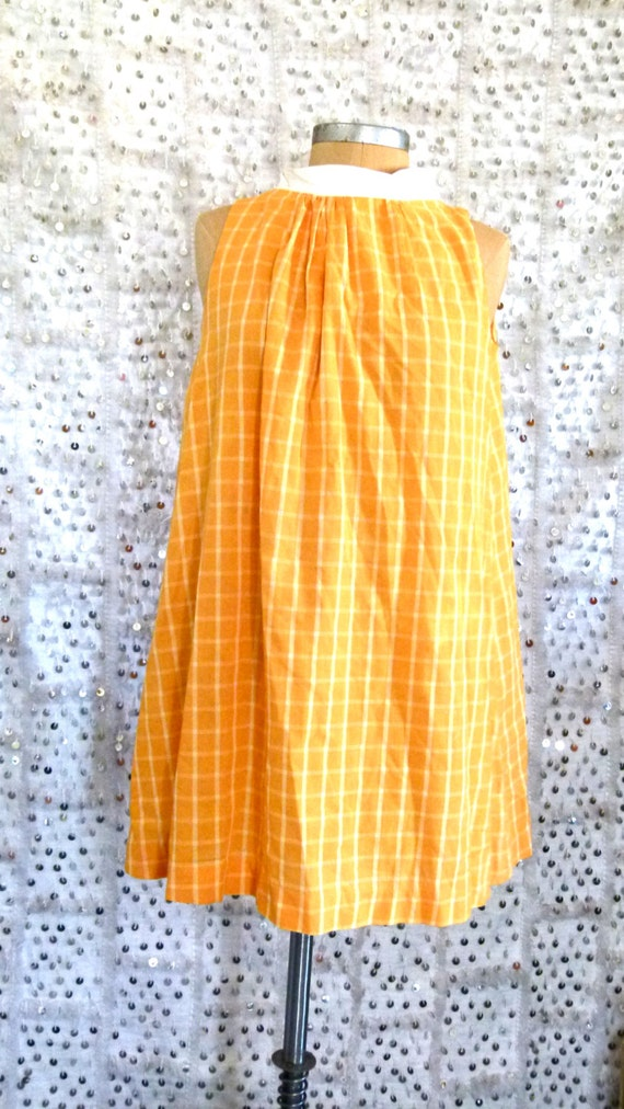 60s Tangerine Dream Babydoll Dress; Twiggy Dress; S/M/L; Summer Dress; Tangerine Dress; Printed Dress; VIntage Dress; Mini Dress