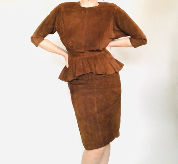 80s Suede Peplum Dress•Backless•sIze 8•