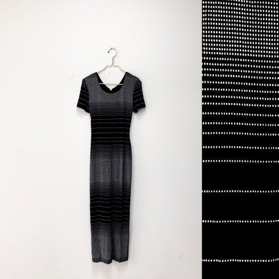 90s Long-Term Lover- Bsic Striped Dress; Black and White Dress; Long Dress; S/M/L; T shirt Dress; Stretchy Dress; Grunge